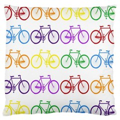 Rainbow Colors Bright Colorful Bicycles Wallpaper Background Large Cushion Case (two Sides) by Simbadda