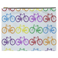 Rainbow Colors Bright Colorful Bicycles Wallpaper Background Cosmetic Bag (xxxl)  by Simbadda