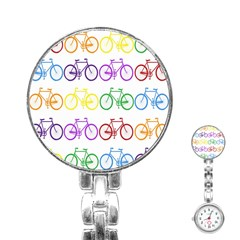 Rainbow Colors Bright Colorful Bicycles Wallpaper Background Stainless Steel Nurses Watch by Simbadda