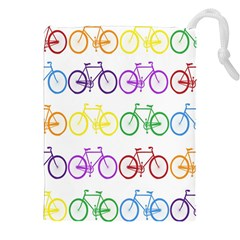 Rainbow Colors Bright Colorful Bicycles Wallpaper Background Drawstring Pouches (xxl)