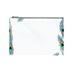 Beautiful Frame Made Up Of Blue Peacock Feathers Cosmetic Bag (large)  by Simbadda
