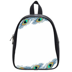 Beautiful Frame Made Up Of Blue Peacock Feathers School Bags (small)  by Simbadda