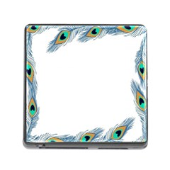 Beautiful Frame Made Up Of Blue Peacock Feathers Memory Card Reader (square) by Simbadda