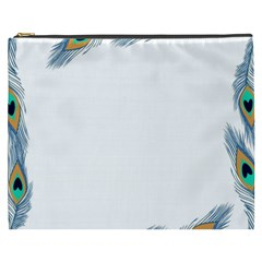 Beautiful Frame Made Up Of Blue Peacock Feathers Cosmetic Bag (xxxl)  by Simbadda