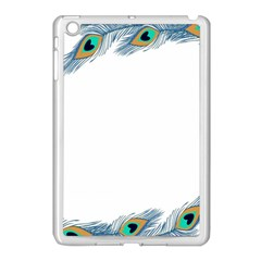 Beautiful Frame Made Up Of Blue Peacock Feathers Apple Ipad Mini Case (white) by Simbadda