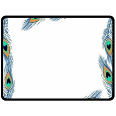 Beautiful Frame Made Up Of Blue Peacock Feathers Double Sided Fleece Blanket (large)  by Simbadda