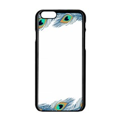Beautiful Frame Made Up Of Blue Peacock Feathers Apple Iphone 6/6s Black Enamel Case by Simbadda