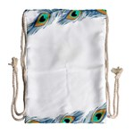 Beautiful Frame Made Up Of Blue Peacock Feathers Drawstring Bag (Large) Back