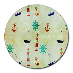 Vintage Seamless Nautical Wallpaper Pattern Round Mousepads