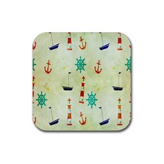 Vintage Seamless Nautical Wallpaper Pattern Rubber Coaster (square)  by Simbadda