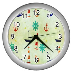 Vintage Seamless Nautical Wallpaper Pattern Wall Clocks (silver)