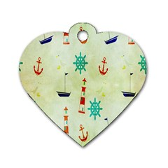 Vintage Seamless Nautical Wallpaper Pattern Dog Tag Heart (two Sides)