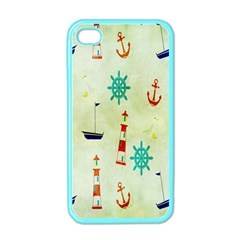 Vintage Seamless Nautical Wallpaper Pattern Apple Iphone 4 Case (color) by Simbadda