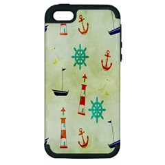 Vintage Seamless Nautical Wallpaper Pattern Apple Iphone 5 Hardshell Case (pc+silicone)