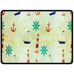 Vintage Seamless Nautical Wallpaper Pattern Double Sided Fleece Blanket (large)  by Simbadda