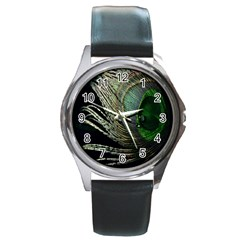 Feather Peacock Drops Green Round Metal Watch by Simbadda
