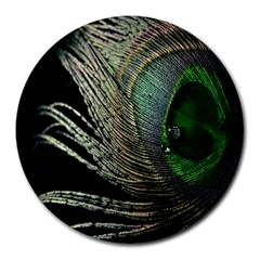 Feather Peacock Drops Green Round Mousepads by Simbadda