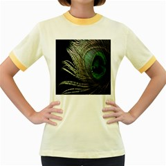 Feather Peacock Drops Green Women s Fitted Ringer T Shirts by Simbadda