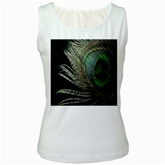 Feather Peacock Drops Green Women s White Tank Top