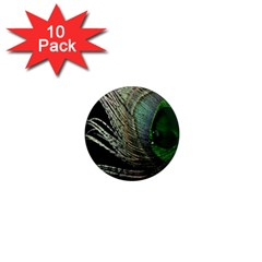 Feather Peacock Drops Green 1  Mini Magnet (10 Pack)  by Simbadda