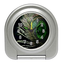 Feather Peacock Drops Green Travel Alarm Clocks by Simbadda