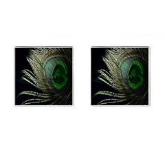 Feather Peacock Drops Green Cufflinks (square) by Simbadda