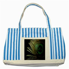 Feather Peacock Drops Green Striped Blue Tote Bag by Simbadda