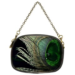 Feather Peacock Drops Green Chain Purses (one Side)  by Simbadda