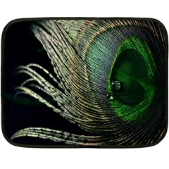 Feather Peacock Drops Green Fleece Blanket (mini) by Simbadda