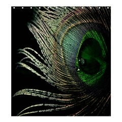 Feather Peacock Drops Green Shower Curtain 66  X 72  (large)  by Simbadda