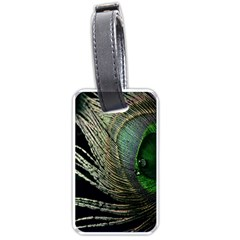 Feather Peacock Drops Green Luggage Tags (one Side)  by Simbadda