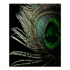 Feather Peacock Drops Green Shower Curtain 60  X 72  (medium)  by Simbadda