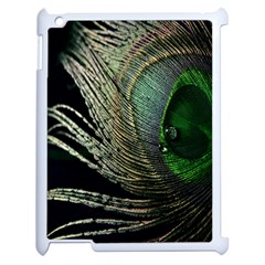 Feather Peacock Drops Green Apple Ipad 2 Case (white) by Simbadda