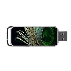 Feather Peacock Drops Green Portable Usb Flash (two Sides) by Simbadda