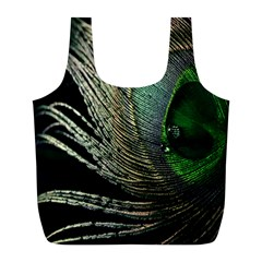 Feather Peacock Drops Green Full Print Recycle Bags (l)