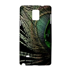 Feather Peacock Drops Green Samsung Galaxy Note 4 Hardshell Case by Simbadda