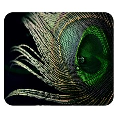 Feather Peacock Drops Green Double Sided Flano Blanket (small)  by Simbadda