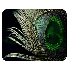 Feather Peacock Drops Green Double Sided Flano Blanket (medium)  by Simbadda
