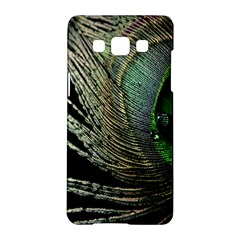 Feather Peacock Drops Green Samsung Galaxy A5 Hardshell Case  by Simbadda