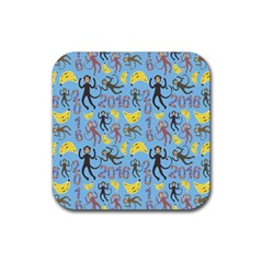 Cute Monkeys Seamless Pattern Rubber Coaster (square)  by Simbadda