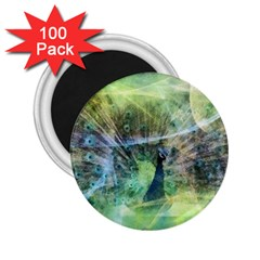 Digitally Painted Abstract Style Watercolour Painting Of A Peacock 2 25  Magnets (100 Pack)  by Simbadda