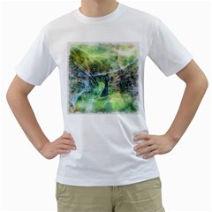 Digitally Painted Abstract Style Watercolour Painting Of A Peacock Men s T Shirt (white) (two Sided)