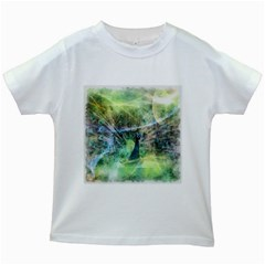 Digitally Painted Abstract Style Watercolour Painting Of A Peacock Kids White T-shirts by Simbadda