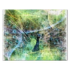Digitally Painted Abstract Style Watercolour Painting Of A Peacock Rectangular Jigsaw Puzzl by Simbadda