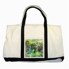 Digitally Painted Abstract Style Watercolour Painting Of A Peacock Two Tone Tote Bag by Simbadda