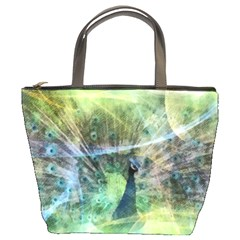Digitally Painted Abstract Style Watercolour Painting Of A Peacock Bucket Bags by Simbadda