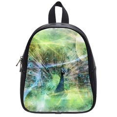 Digitally Painted Abstract Style Watercolour Painting Of A Peacock School Bags (small)  by Simbadda