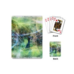 Digitally Painted Abstract Style Watercolour Painting Of A Peacock Playing Cards (mini)