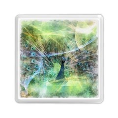 Digitally Painted Abstract Style Watercolour Painting Of A Peacock Memory Card Reader (square)  by Simbadda