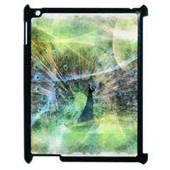 Digitally Painted Abstract Style Watercolour Painting Of A Peacock Apple Ipad 2 Case (black) by Simbadda